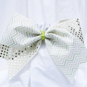 Cheer bow- Light green chevron with sequins. cheerleader bow - dance bow -cheerleading bow