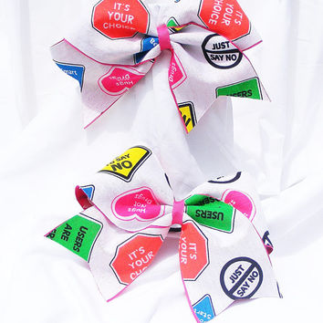 Cheer bow -  Neon colored just say NO to drugs! cheerleader bow - dance bow -cheerleading bow