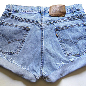 Vintage Levi's Light Wash High Waisted Cut Off Denim Shorts Jean Cuffed 31""