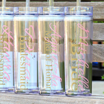glitter vinyl, acrylic tumblers, skinny tumblers, wedding party gift, bachelorette party cups, bridesmaid gift, maid of honor, personalized