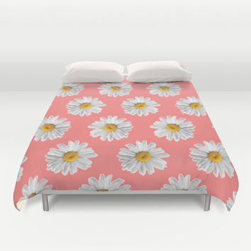Daisies & Peaches - Daisy Pattern on Pink Duvet Cover by Tangerine-Tane