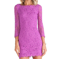 Diane von Furstenberg Zarita Lace Dress in Fuchsia