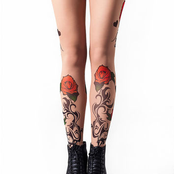 Tribal&Roses Temporary Tattoo Style Mesh Leggings