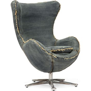 Winchester Armchair Blue Denim Fabric