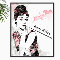 Audrey Hepburn Art Breakfast at Tiffany's Audrey Watercolor illustration Audrey Poster Hollywood Poster Bathroom wall art Fashion Art Black