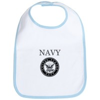 Grey Navy Emblem Bib