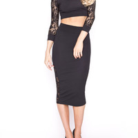 Black Lace Crop Top With Pencil Midi Skirt - Choies.com