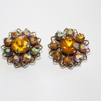 Vintage Amber Orange Earrings Rhinestone  1950s Jewelry Chunky