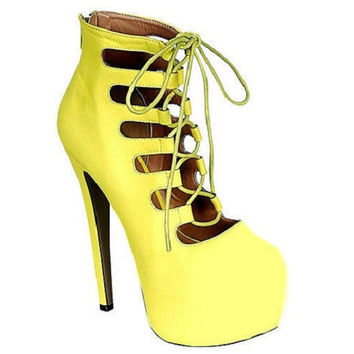 Nelly-64 Yellow Lace up Pump High Heel Gladiator Shoes