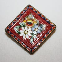 Micro Mosaic Brooch Red Italy Vintage 1940s Jewelry
