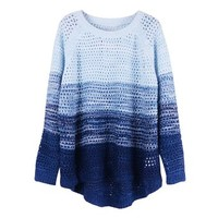 ZLYC Women's Gradient Color Stripe Loose Pullover Knit Sweater