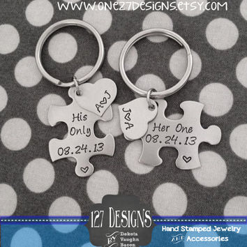 Personalized Puzzle Piece Key Chain Duo Her One His Only - These Hand Stamped Stainless Steel Key Chains Anniversary Wedding Gift