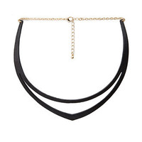 Faux Leather Cutout Choker