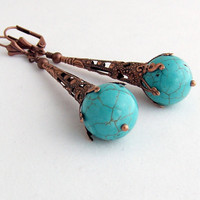 Earrings of Turquoise Colored Stone Balls by ElainaLouiseStudios