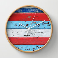 Multicolored Wooden Planks Wall Clock