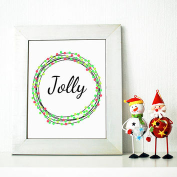 Christmas home decor wall art print. Jolly in circle frame with red and green berries. Holiday themed art prints.