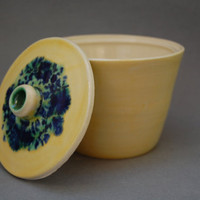 Yellow ceramic sugar pot, trinket pot, stash pot, jewelry pot, lidded pot, yellow lidded pot