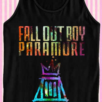 fall out boy paramore Black for Tank Top Mens and Tank Top Girls