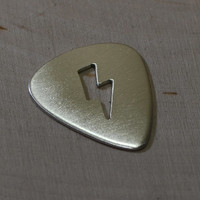 Lightening bolt sterling silver guitar pick