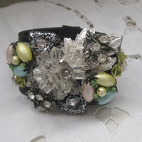 CLEARANCE-CHARMED, I'M SURE-Collage Leather Cuff Designed With Vintage Upcycled Jewelry, Was 65.00, Now 50.00