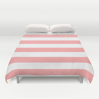 Coral Pink Stripe Horizontal Duvet Cover by BeautifulHomes | Society6