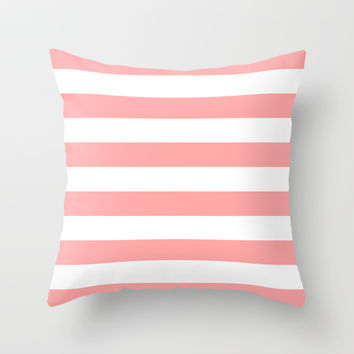Coral Pink Stripe Horizontal Throw Pillow by BeautifulHomes | Society6