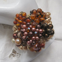 AUTUMN BREEZE-Collage Memory Wire Bracelet Designed With Upcycled Vintage Jewelry