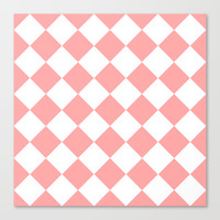 Coral Pink Diamonds Stretched Canvas by BeautifulHomes | Society6