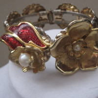 CLEARANCE, Golden Blooms-Cuff Bracelet Designed With Upcycled Vintage Jewelry, Was 45.00, Now 30.00