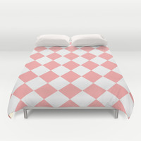 Coral Pink Diamonds Duvet Cover by BeautifulHomes | Society6