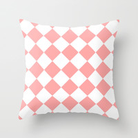 Coral Pink Diamonds Throw Pillow by BeautifulHomes | Society6