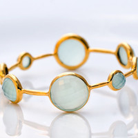 18K Gold Plated Faceted Aqua Blue Chalcedony Bracelet by delezhen