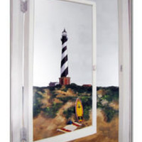 Coastal Home Decor &amp; Gifts - Shop of the Sea  Cape Hatteras Lighthouse on Faux Window Mirror
