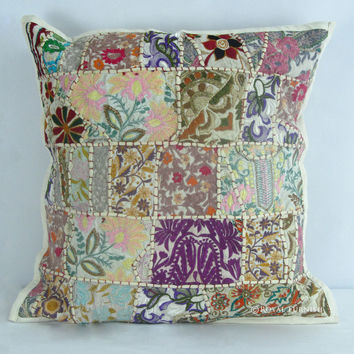 "20"" White Multicolor Indian Vintage Patchwork Throw Cushion Pillow Case Sham on RoyalFurnish.com"