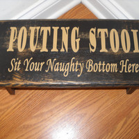 "Wooden ""Pouting Stool"" Bench, Choose your stain and decal color."