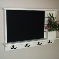 Chalkboard,Shabby Distressed Chic  Furniture Chalkboard, Chalk Board ,Key Holder.Mail Holder, Message Board, Shabby Chalkboard,Flower Holder
