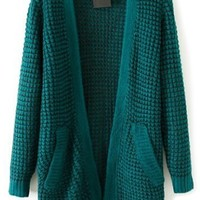 Popcorn Knit Long Cardigan - OASAP.com