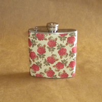 Vintage Roses Print 6 ounce Stainless Steel Wedding Girl Gift Flask KR2D 2467