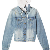 Denim Jacket with Hood - Medium Blue