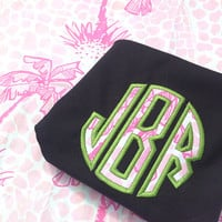 Lilly Pulitzer Personalized Monogrammed Full Zip Sweatshirts Applique Pink Navy Green White