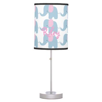 Blue and Pink Baby Elephant Table Lamp