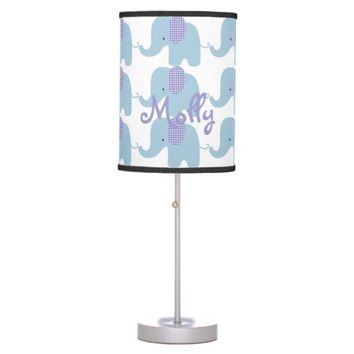 Blue and Purple Baby Elephant Table Lamp