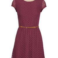 short sleeve textured lace dress with belt
