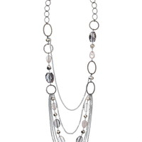 Multi chain and facet stone drape necklace