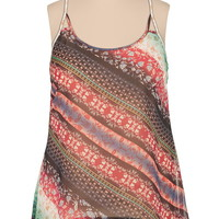 beaded lattice back printed plus size tank