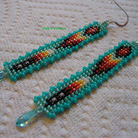 Square stitched Native American inspired earrings
