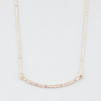 Full Tilt Rhinestone Curved Bar Necklace Gold One Size For Women 24486462101