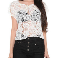 White Skull Crochet Top