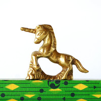 Vintage Brass Unicorn Figurine - Small