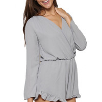 Le Belle Long Sleeve Ruffle Trim Romper - Grey | Daily Chic
